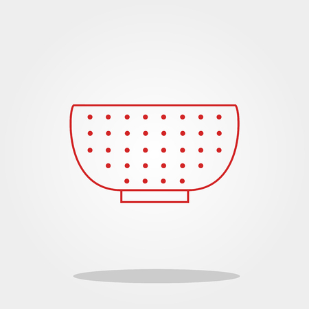 sieve: Colander cute icon in trendy flat style isolated on color background. Kitchenware symbol for your design Illustration