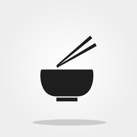 Bowl and chopstick cute icon in trendy flat style isolated on color background. Kitchenware symbol for your design
