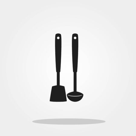 Spoon and spatula cute icon in trendy flat style isolated on color background. Kitchenware symbol for your design