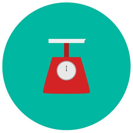weigher: Weigher cute icon in trendy flat style isolated on color background. Kitchenware symbol for your design