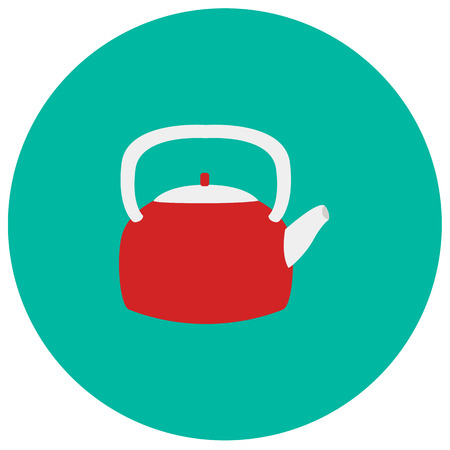 stovetop: Kettle cute icon in trendy flat style isolated on color background. Kitchenware symbol for your design Illustration