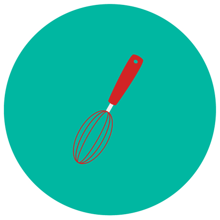 Whisk utensil cute icon in trendy flat style isolated on color background. Kitchenware symbol for your design Illustration