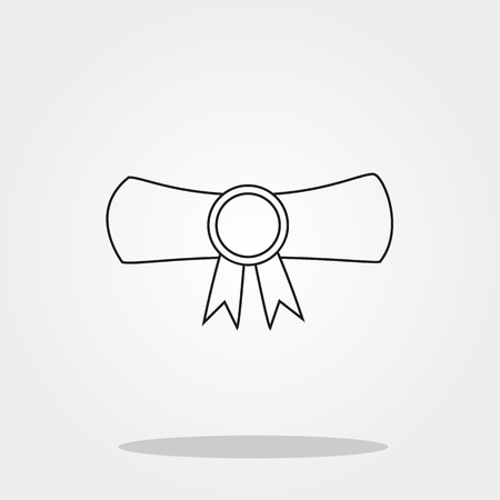 ged: Sertification cute icon in trendy flat style isolated on grey background. School symbol for your design, logo, UI. Vector illustration, EPS10.