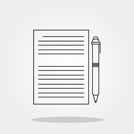 old notebook: Paper and pen cute icon in trendy flat style isolated on grey background. School symbol for your design, logo, UI. Vector illustration, EPS10.