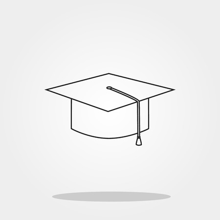 Graduated hat cute icon in trendy flat style isolated on grey background. School symbol for your design, logo, UI. Vector illustration, EPS10. Çizim