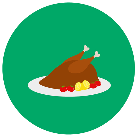 Roasted turkey for dinner cute icon in trendy flat style isolated on color background. Thanksgiving symbol for your design