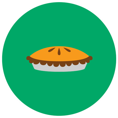 Pumpkin pie cute icon in trendy flat style isolated on color background. Thanksgiving symbol for your design