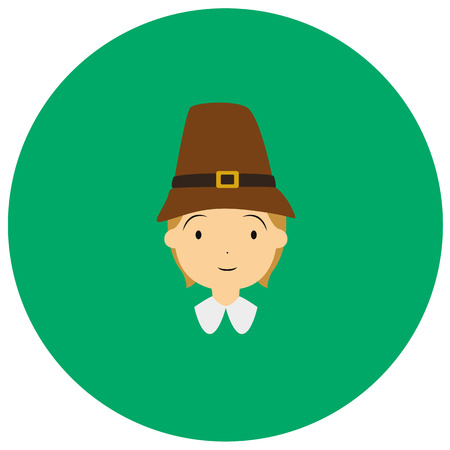 American colonial thanksgiving man cute icon in trendy flat style isolated on color background. Thanksgiving symbol for your design Illustration