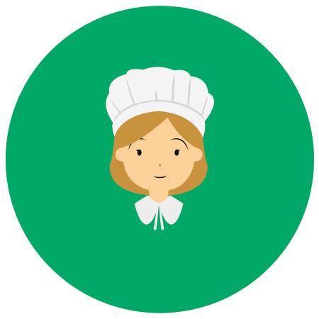 Amerikanischen Kolonialdank Frauen niedlich Symbol im trendigen flachen Stil auf farbigem Hintergrund isoliert. Thanksgiving-Symbol für Ihr Design Standard-Bild - 69156487