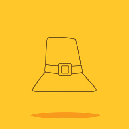 pilgrim costume: Thanksgiving hat cute icon in trendy flat style isolated on color background. Thanksgiving symbol for your design