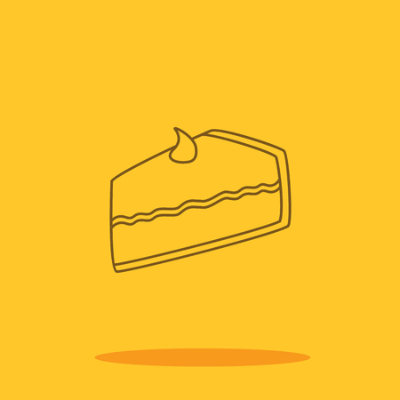 Pumpkin pie slice cute icon in trendy flat style isolated on color background. Thanksgiving symbol for your design Çizim
