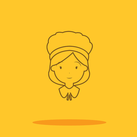 colonial: American colonial thanksgiving women cute icon in trendy flat style isolated on color background. Thanksgiving symbol for your design