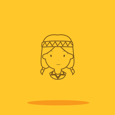 American indian women cute icon in trendy flat style isolated on color background. Thanksgiving symbol for your design