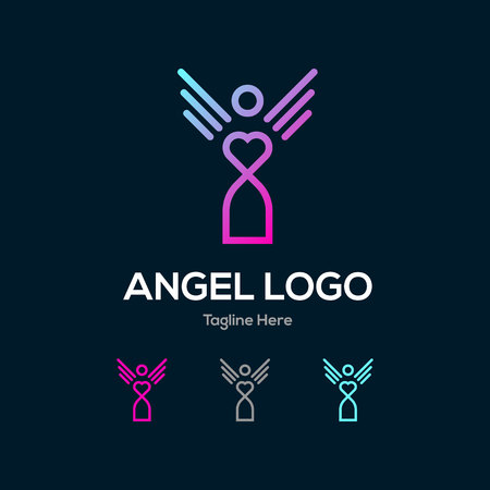 Humanity angel lowercase flat logo design template
