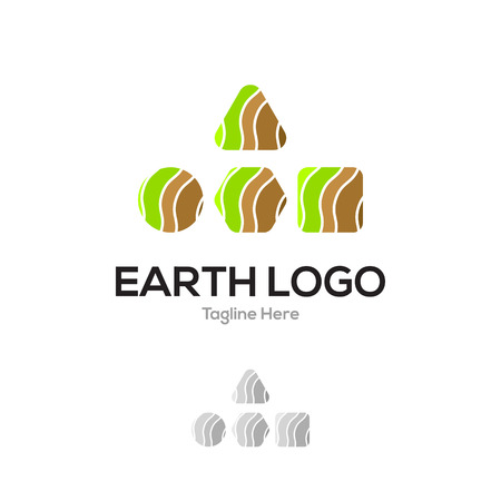 Earth eco green geometrical layer lowercase flat logo design template