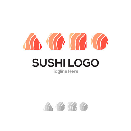 Sushi restaurant geometrical layer lowercase flat logo design template Иллюстрация