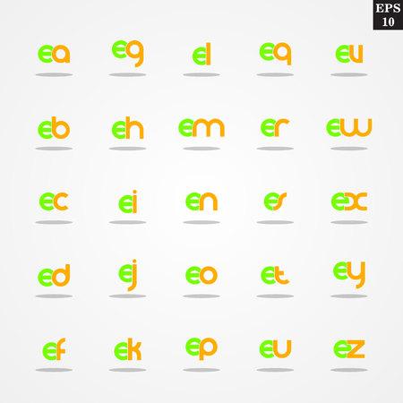 Première lettre E compilation de A à Z minuscules logo design coloré Banque d'images - 78508660