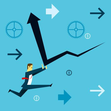 descending: Standing survive. Businessman running and dispels the financial downturn. Concept business vector illustration.