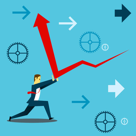 descending: Standing survive. Businessmen and deflect upwards survive the financial downturn. Concept business vector illustration.