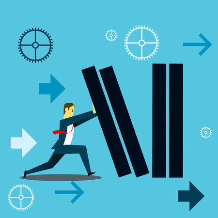 descending: Standing survive. Businessman withstand the fall of the companys financial burden. Concept business vector illustration.