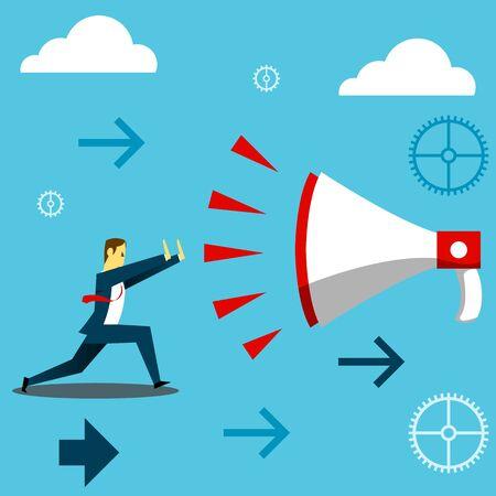 descending: Standing survive. Businessman dispel shout of a giant megaphone. Concept business vector illustration. Illustration