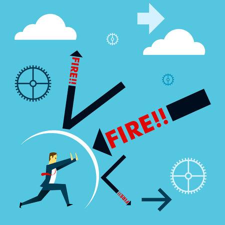 descending: Standing survive. Businessmen survive dismissal withstand attacks. Concept business vector illustration.