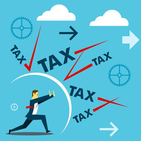 Standing survive. Businessmen survive withstand attacks excessive taxes. Concept business vector illustration.