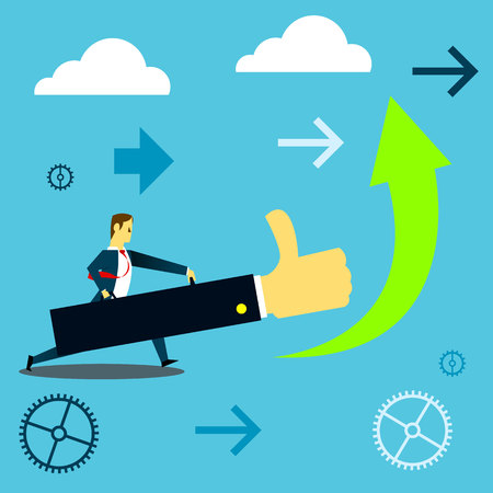 Bringing power. Businessman pushing upwards success using a giant hand. Concept business vector illustration.