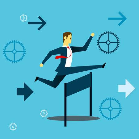 Corriendo hacia adelante. Hombre de negocios corriendo y saltando sobre obstáculos en el trabajo. Ilustración de vector de negocio concepto.