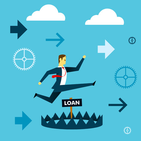 business obstacle: Running fore. Businessman running to avoid pitfalls giant of a loan. Concept business vector illustration.