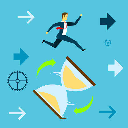 Running fore. Businessman running to catch a giant hourglass surrounds. Concept business vector illustration.