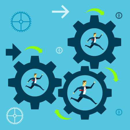 Running fore. Businessman team running in a gear the company towards success. Concept business vector illustration. Illustration