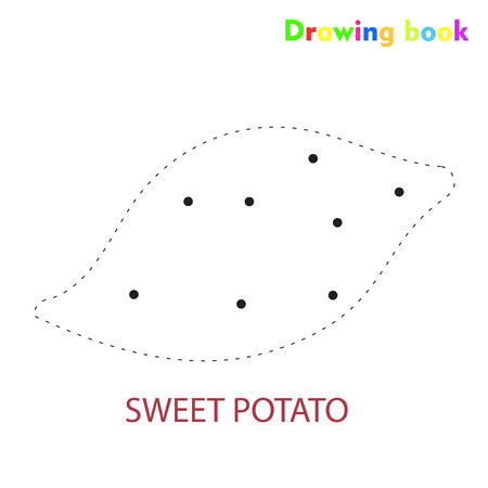 Sweet potato coloring and drawing book vegetable design illustration