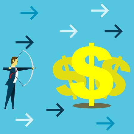 Target planning. Businessman preparing archery dollar. Concept business vector illustration.