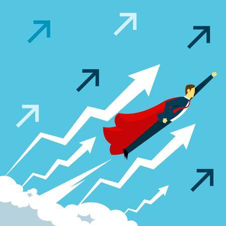 Flight. Businessman fly bringing super hero cape. Concept business vector illustration.
