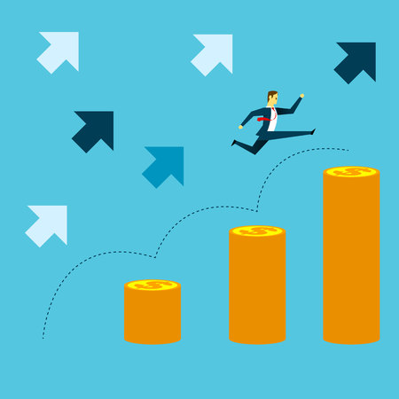 Grow up. Manager jumped onto coins with vigor. Concept business vector illustration.