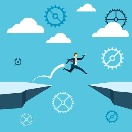 ジャンプ。ビジネスマンは、崖を飛び越えます。コンセプト事業ベクトル イラスト。  イラスト・ベクター素材