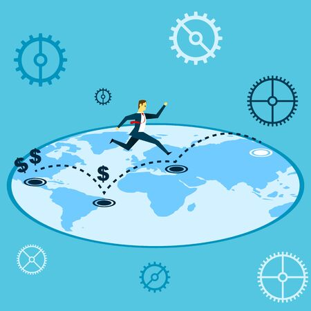 Jumping. Manager jumping on a map of world. Concept business vector illustration. 向量圖像