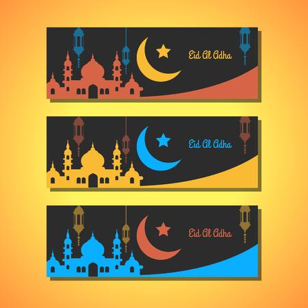 version: Ramadhan Kareem black greeting cards in three color version Illustration
