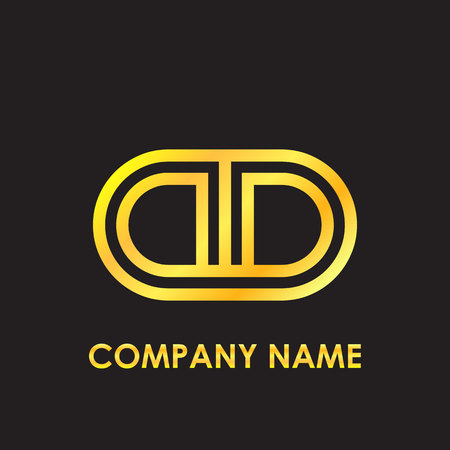 Initial letter DD elegant gold reflected lowercase logo template in black background