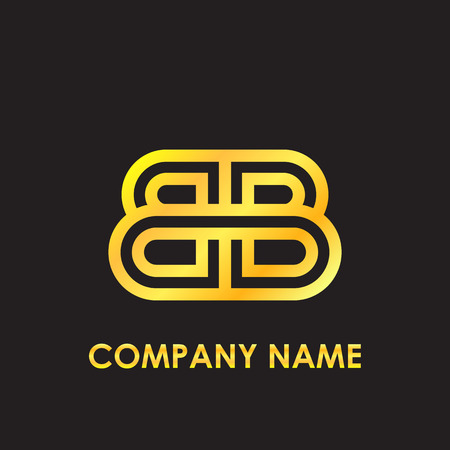 Initial letter BB elegant gold reflected lowercase logo template in black background
