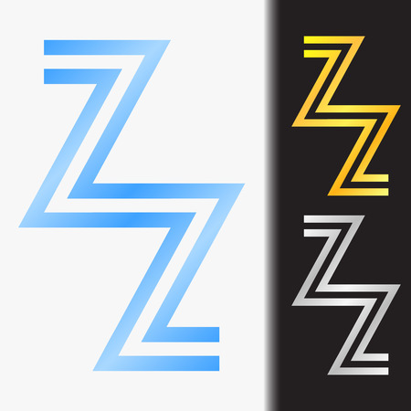 Initial letter ZZ premium blue metallic rotated lowercase logo template in white background, and custom preview in gold and silver color Illustration