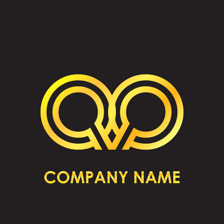 Initial letter QQ elegant gold reflected lowercase logo template in black background
