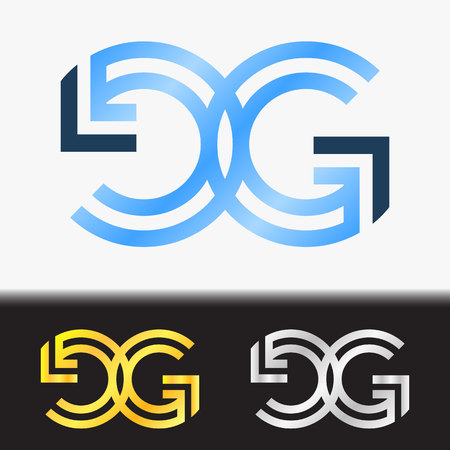 Initial letter GG premium blue metallic rotated lowercase logo template in white background, and custom preview in gold and silver color Illustration
