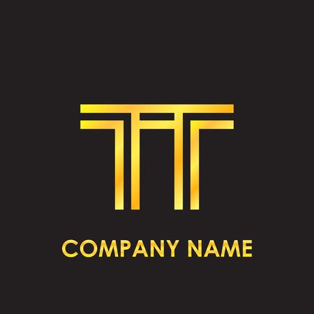 Initial letter TT elegant gold reflected lowercase logo template in black background 矢量图像