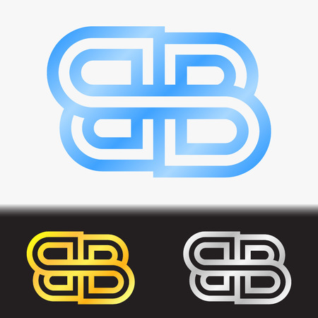 Initial letter BB premium blue metallic rotated lowercase logo template in white background, and custom preview in gold and silver color Illustration