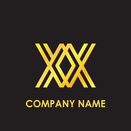 Initial letter XX elegant gold reflected lowercase logo template in black background Illustration