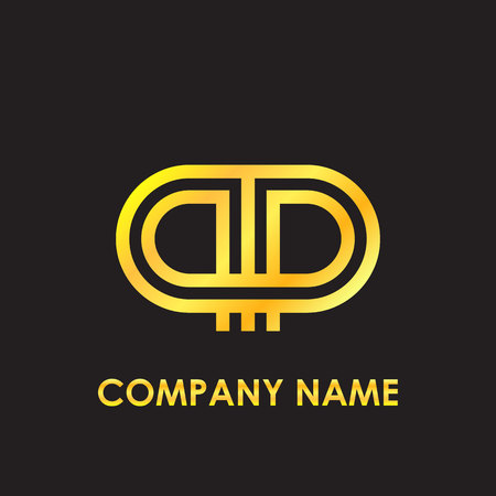 Initial letter PP elegant gold reflected lowercase logo template in black background