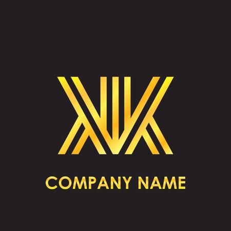 Initial letter KK elegant gold reflected lowercase logo template in black background