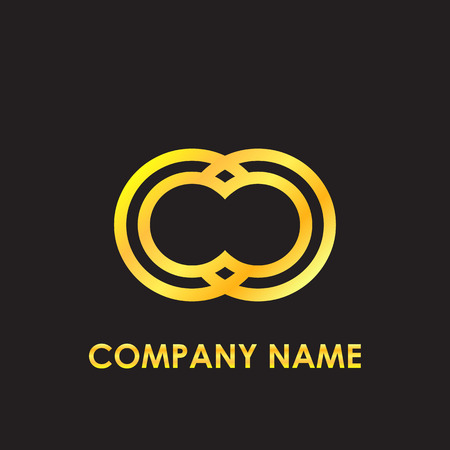 Initial letter CC elegant gold reflected lowercase logo template in black background